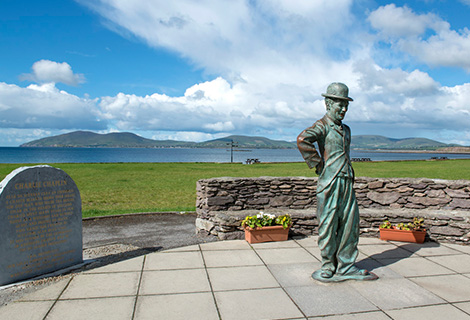 Travel the Scenic Famous Ring of Kerry, stop off at Charlie Chaplin Waterville - Southwest Ireland Kerry Knitting Retreat